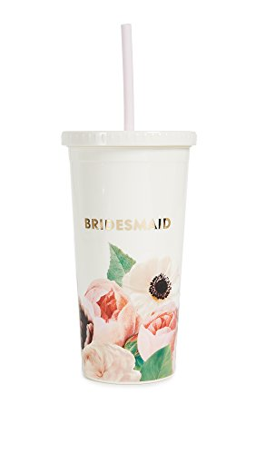 Kate Spade New York Bridesmaids Insulated Plastic Tumbler With Reusable Silicone Straw, 20oz,...