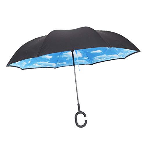 P Prettyia Paraguas Invertido Plegable Reversible con Protección contra Rayos UV Sombrillas...