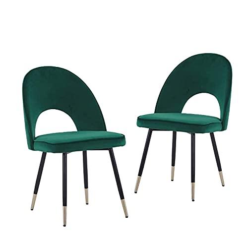 Juego de 2 sillas de comedor, de cocina, de salón, asiento y respaldo mullidos de terciopelo verde suave, patas de metal doradas, (verde, 2)