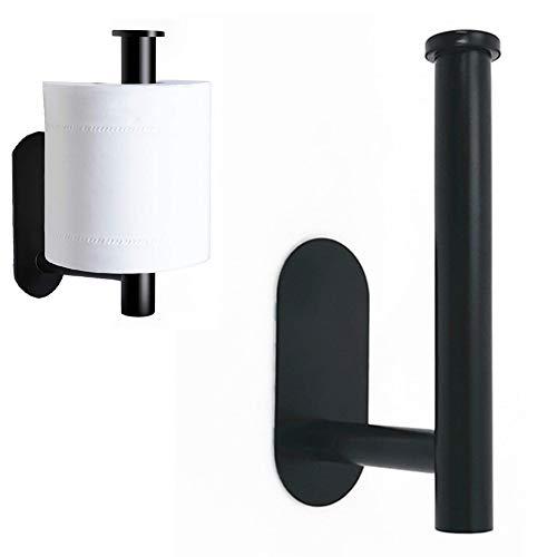 Toilettenpapierhalter, kein Bohrloch, Toilettenpapierhalter aus Edelstahl 304, für Schlafzimmer, Bad, WC oder Küche, 14,2 * 7,3 cm (schwarz)