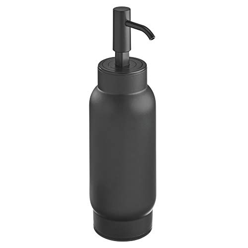 iDesign Austin Dispensador de baño, elegante dosificador de jabón recargable de metal resistente, negro mate, 8,8 cm x 6,7 cm x 22,1 cm