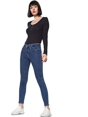 ONLY Damen ONLVERONIKA L/S DNM Tee Langarmshirt, Schwarz (Black Black), Medium (Herstellergröße: M)