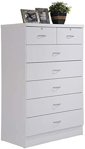 Pemberly Row All items free shipping Tall 7 Drawer Chest Drawers White with Locking Genuine Free Shipping 2 in