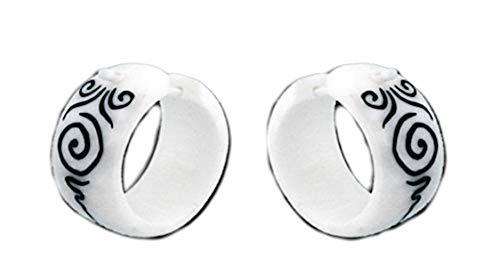 CHICNET Pendientes de aro para hombre y mujer, de hueso en blanco, 18 mm, varilla de 1,7 mm a 20 mm, diseño de espirales negras