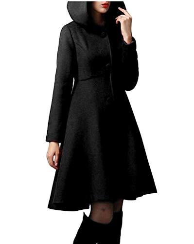 ORANDESIGNE Damen Wintermantel Warm Mantel Taschen Langarm Elegant Mantel mit Kapuze Damen Ausgestellter Mantel Kleider Winterjacke Outwear (38, Schwarz)
