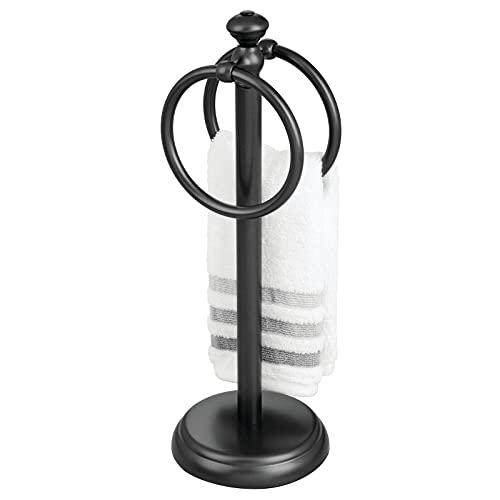 mDesign Handtuchhalter für den Waschtisch – freistehender Handtuchständer mit 2 Ringen für kleine Gästehandtücher – kompakte Handtuchhalterung aus Metall – schwarz