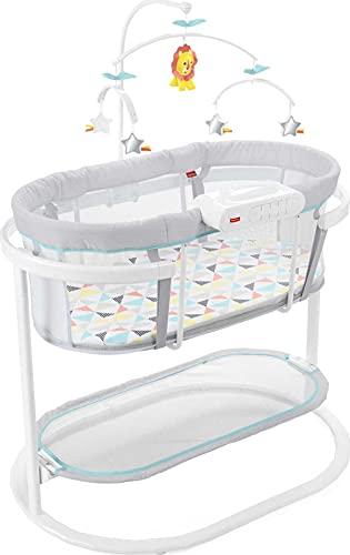 Fisher-Price - Cisés calmante, calma al bebé a dormir con un movimiento de balanceo calmante, móvil de lujo y proyección de luz de modo dual, mul
