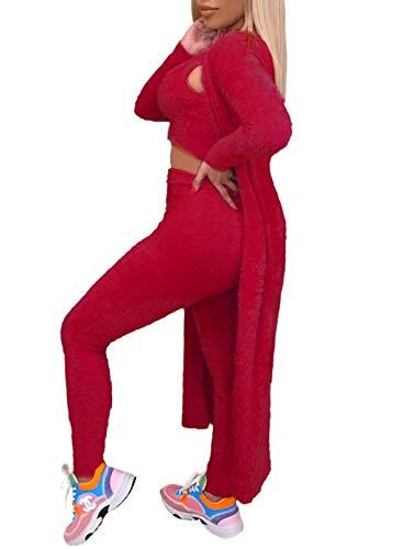 Conjunto de pijama para mujer, de 3 piezas, de manga larga, cárdigan recortado, sin mangas, pantalones ajustados para dormir