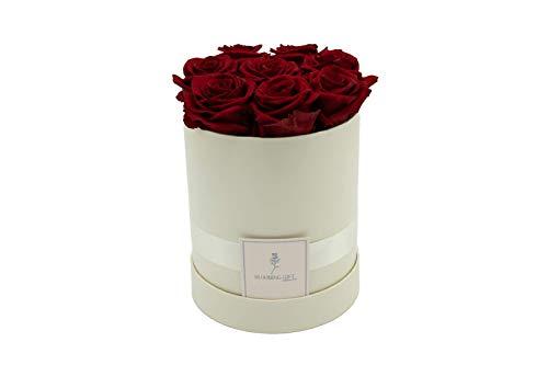 Blooming Gift - Infinity Flowerbox - Rosen-Box - Blumenbox - Ewige Blume - Geschenk - 3 Jahre haltbar - Creme-Weiß/Rot - Große Medium: H17 x Ø15cm
