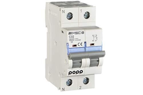 POPP® Interruptor Automático Magnetotérmico industrial CURVA C 1P 2P 3P + 6A 10A 16A 20A 25A 32A 40A 50A 63A … (1P+N, 32A)