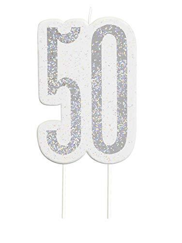 Glitz Black Numeral Birthday Candle 50