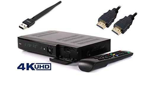 ANKARO AVA 4K Sat-Receiver UDH-TV-4K - DVB-S2X Tuner, Multistream - Astra vorinstalliert - Aufnahmefunktion - Timeshift - Internet-Radio - inkl. HDMI Kabel mit WLAN