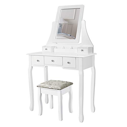 M&W Makeup Vanity Table Set with Rotatable Mirror, Dressing Desk with 5 Drawers and Cushioned Stool for Bedroom, for Women, White