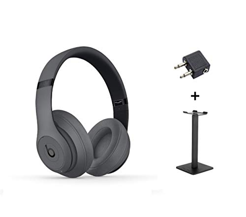 Beats Studio3 Wireless Over-Ear Noise Cancelling Headphone - Grey + Headset Stand + Plug Adapter for In-Flight use