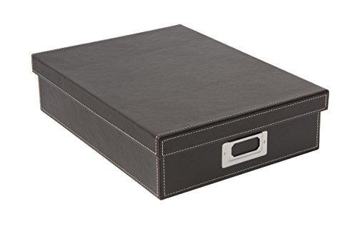 Osco BPUA4BOX Luxus Faux Leder, Schreibtischzubehör und Ablage, braun
