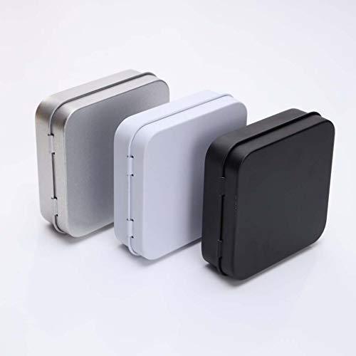 wuzhou 5 Piezas Mini contenedor de latas de Metal Cuadrado con bisagras abatible Caja de Lata de Almacenamiento pequeño Kit Estuche joyería Moneda Caramelo condón Organizador portátil Negro