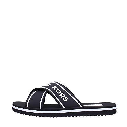 Michael Kors Michael by Sparrow Black and White Logo Slide Sandal Negro/WeiB 41 EU