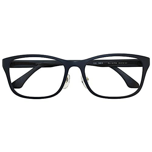 ブルーライトカット 中近両用メガネ ウルテムマット ウェリントン UT004 (メンズセット) 全額返金保証 老眼鏡 (瞳孔間距離:66mm〜68mm, 近くを見る度数:+3.0)
