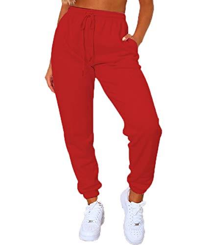 Women's Solid Sweatpants Drawstring Jogger Sweat Pants Cinch Bottom Casual Elastic Waist Workout Trousers (Red, Medium)
