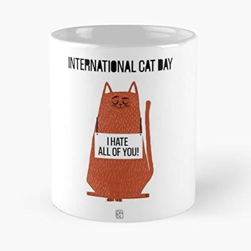 Desconocido Day International Red Cat Love Lover Taza de café con Leche 11 oz