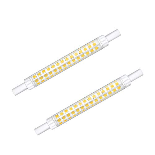 Bonlux 10W 118mm R7s ampoule led linéaire Blanc Froid 6000K led crayon projecteur AC 220-240V équivaut à 50 60W ampoule halogène pour l'éclairage de maison, vitrine, sécurité, etc(2pcs, Non-Dimmable)