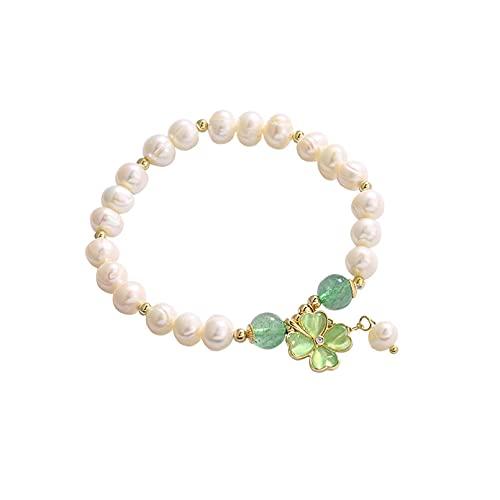N/A Moda Cristal de Fresa Pulsera de Flores en Forma de corazón Temperamento Femenino Diseño de Personalidad Simple Pulsera Pulsera de Perlas naturalesAniversario