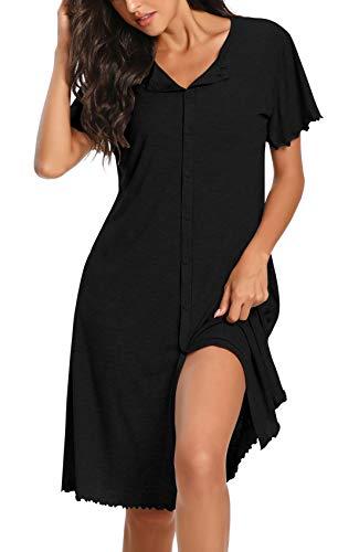 Loveternal Black Modal Nightshirts for Womens Cozy Cotton Button Down Sleepwear Ladies Nightshirts Sexy Pajama Cool Short Sleeve Lightweight Loungewear Comfy Nightwear Dresses XXL