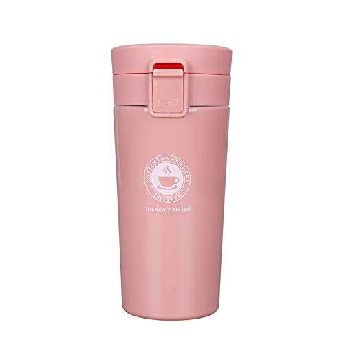 QIMEI-SHOP Termo,Termo de Café para Llevar de Acero Inoxidable Vaso Termico Prueba de Fugas Taza de Café Térmica Sin BPA para Coche Oficina Viaje 380ML Rosado
