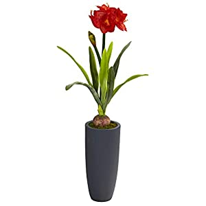 Nearly Natural 3.5ft. Amaryllis Artificial Gray Planter Silk Plants, Green