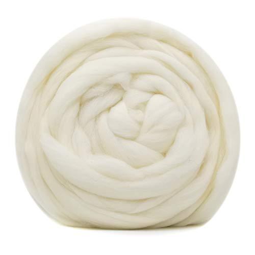 Homarry 100 g de lana merino para fieltro con aguja, kit de 19 micrones extrafino para manualidades de fieltro en seco y húmedo (Blanco)