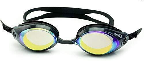Occhialini da Nuoto con Lenti Graduate specchiate World Sports Vision per Adulti, Minus & Plus UV Neri, occhialini a Specchio di Alta qualità
