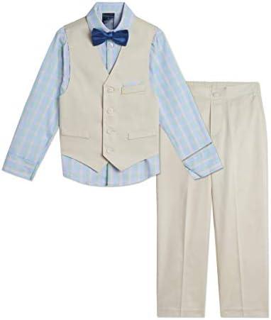Tommy Hilfiger Boys 4 Piece Formal Suit Vest Set Silvered Birch 10 product image