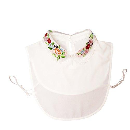 Shinywear Damen Bluse mit Blumenstickerei, weißer Daunen, Chiffon, falscher Kragen, kurze Bluse