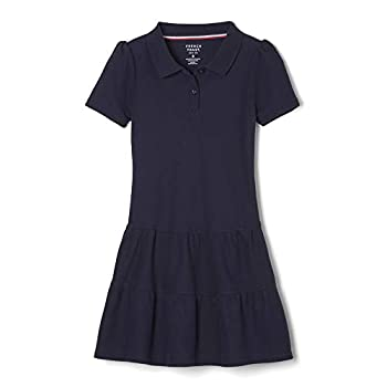 French Toast Girls Ruffle Pique Polo Dress Navy Medium/7/8,Big Girls
