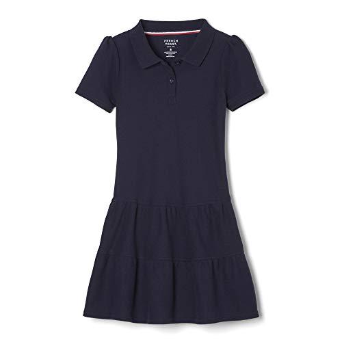 French Toast Mädchen Ruffle Pique Polo Dress Schuluniform, Kleid, Navy, Large