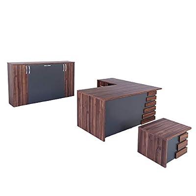 Casa Mare Modern Atlas 3 Piece L Shaped Office Furniture Set | Home Office Furniture Desk | Executive Desk | Light Brown & Grey