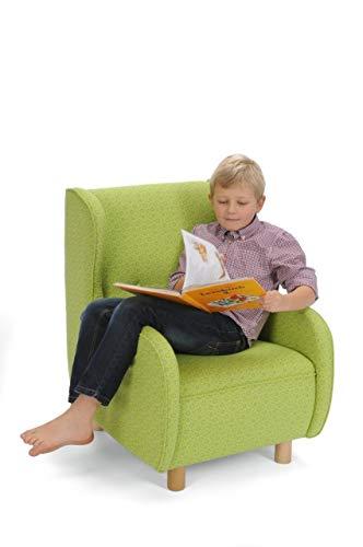 Kinder-Ohrensessel / Kinderstuhl mit grün geblümtem Stoffbezug / Maße: 56 x 67 x 78 cm / Sitzhöhe: 34 cm