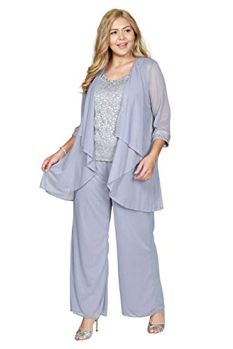 R&M Richards Plus Size Pant Suit Made in USA (20W, Silver)