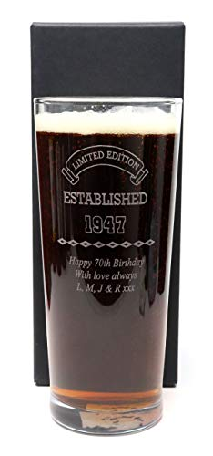 Engraved/Personalised *Established Birthday Design* New Pint Glass Gift Boxed (Cardboard Gift Box)