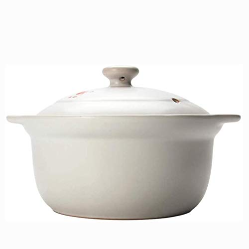 XJJZS Casserole Stew Pot Household Gas Soup Handmade Cooking Pot Made of Clay Terra Cotta Traditional Assorted Designs Ideal for Cooking Beans, Rice, Soup