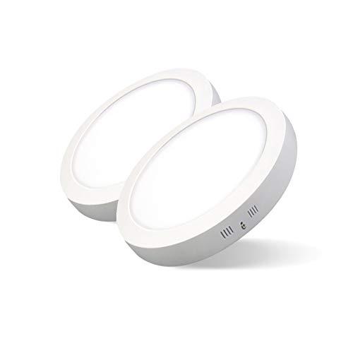 Pack de 2 Plafones LED Circulares ARIES · Downlight LED Redondo de Superficie de 24W con Chip Interior OSRAM · 2880 Lm. · 4000K Luz Blanca Neutra · 285mm Ø [Clase Energética A++]
