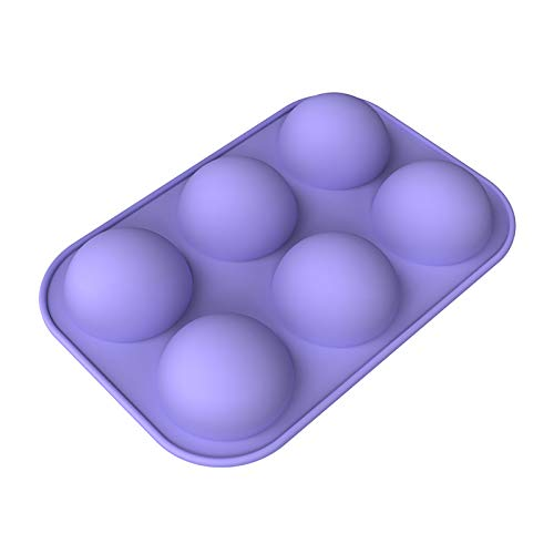 Silicone Chocolate Mold,6 Holes Half Sphere Silicone Tray for Chocolate, Cake, Jelly, Pudding, Cupcake,BPA Free Kitchen Pastry Bakeware Baking Pan (Purple)