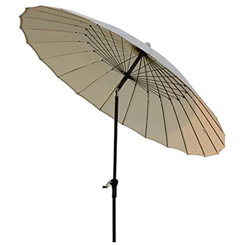 250 Cm Sombrilla de Jardín con Protección UV Parasol Grande de Jardín, Mecanismo de Inclinación, con 24 Varillas de Acero, Utilizada en Jardines, Terrazas, Mercados, Sombrilla Redonda,Beige