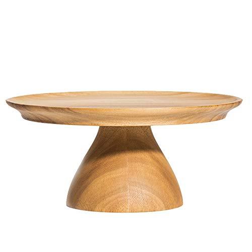 XBSD 11-inch ronde houten taartdisplaystandaard, handgemaakte taartvoetstuk, teakhouten gepolijst voor het presenteren van taarten, gebak, desserts, creatief huis.