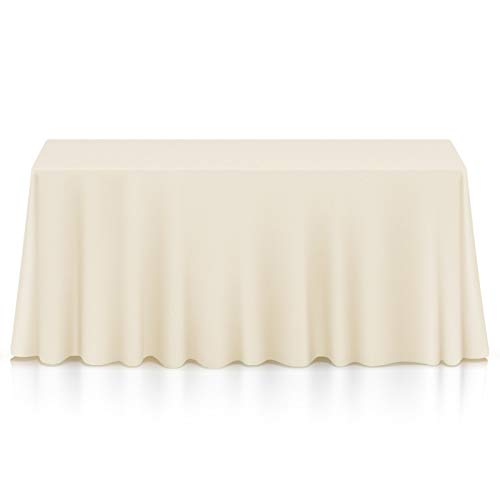 Lanns Linens - 90 x 156 Premium Tablecloth for Wedding  Banquet  Restaurant - Rectangular Polyester Fabric Table Cloth - Ivory