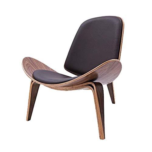 YDYG Mid-Century Modern Shell Chair Side Accent Stativ Sperrholz Lounge Chair Nussbaum Gepolstert Kunstleder-Patio-Stuhl, Walnuss