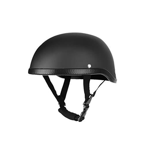 qiuxiaoaa Casco de la Motocicleta Casco Cascos de Media Cara Vintage Sombrero de Seguridad Retro Casco Protector de la Cabeza Negro Mate