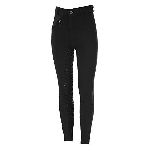 horze Junior Active Silikon Grip Vollbesatzhose mit Reißverschlusstaschen und elastischem Beinabschluss, Schwarz, 150