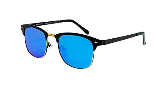 rainbow safety Herren Damen Sonnenbrille Auto Brille Nachtsichtbrille Polarisierte Gläser RWNP4 (Blau Spiegel Cat.3)