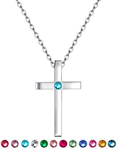 XOYOYZU Birthstone Tiny Cross Pendant Necklace with AAAAA Sparkly Zircon Birthday Gifts for product image